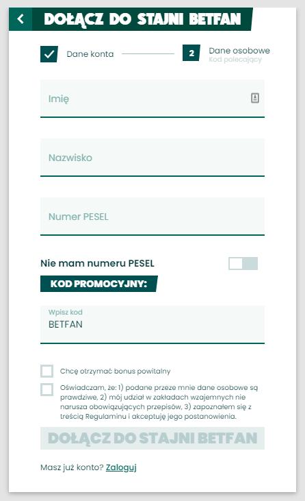 rejestracja w betfan z kodem promocyjnym